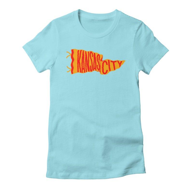 Kansas City Pennant No. 1 Women's Fitted T-Shirt by redleggerstudio's Shop