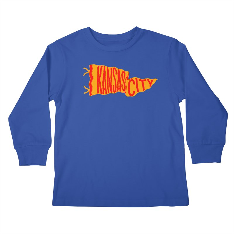 Kansas City Pennant No. 1 Kids Longsleeve T-Shirt by redleggerstudio's Shop