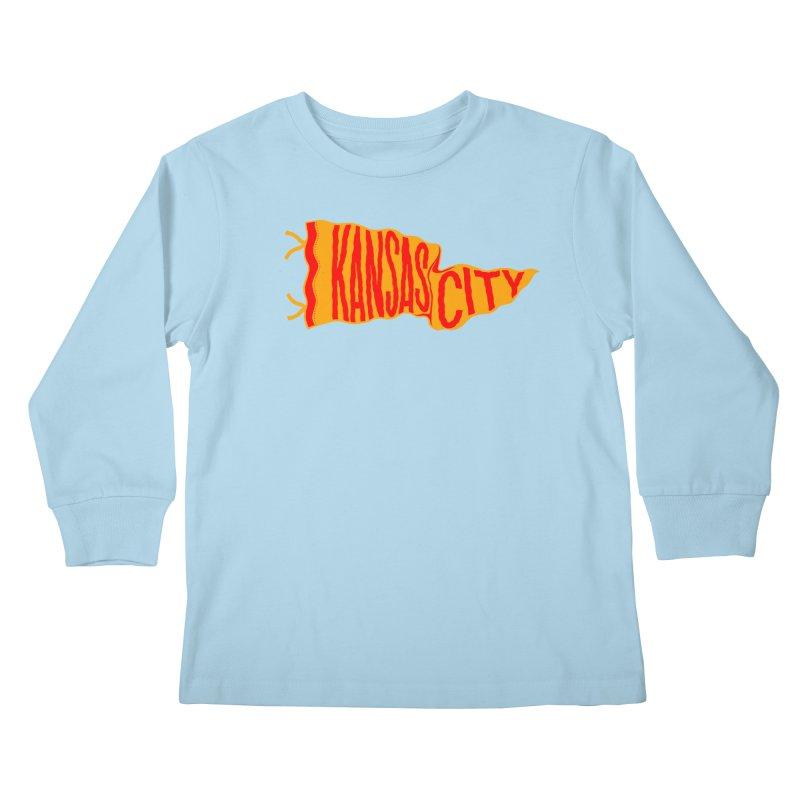 Kansas City Pennant No. 1 Kids Longsleeve T-Shirt by redleggerstudio's Shop