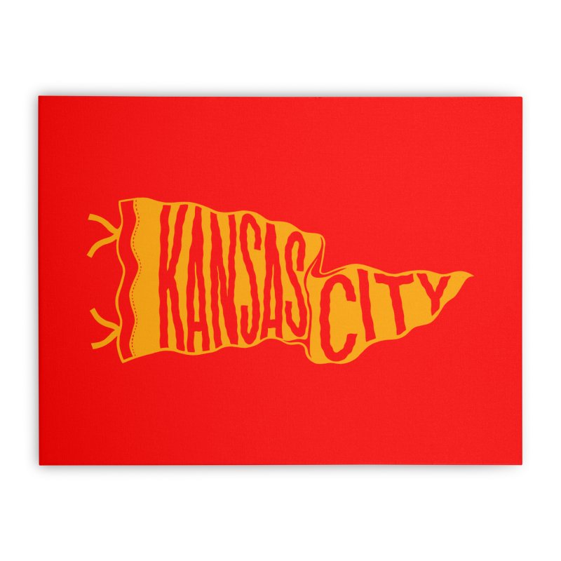Kansas City Pennant No. 1 Home Stretched Canvas by redleggerstudio's Shop