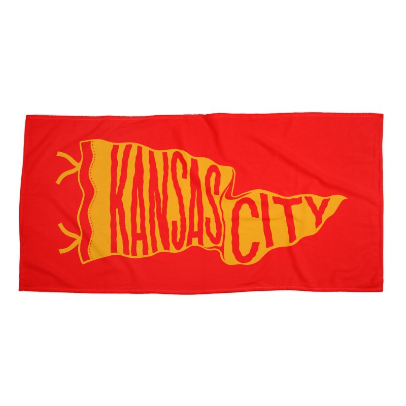 Kansas City Pennant No. 1 Accessories Beach Towel by redleggerstudio's Shop