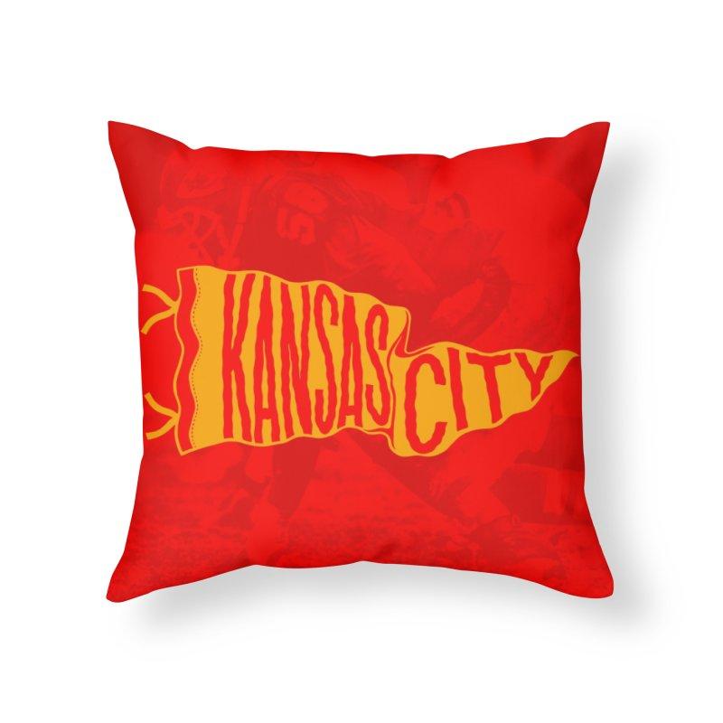 Kansas City Pennant No. 1 Home Throw Pillow by redleggerstudio's Shop
