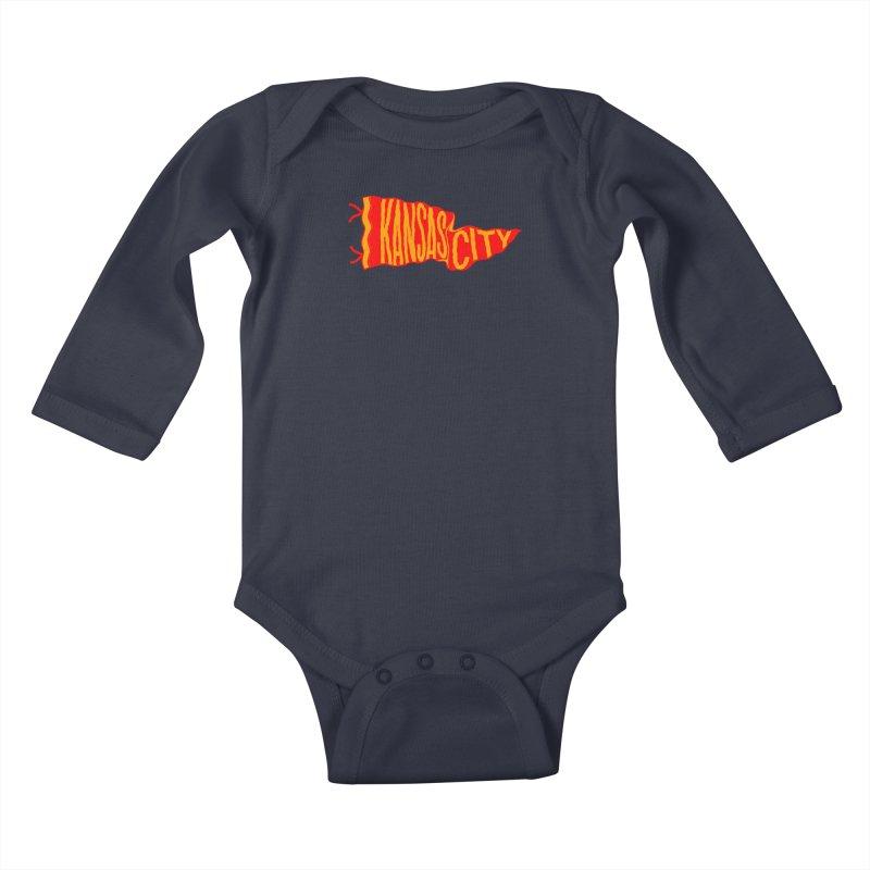 Kansas City Pennant No. 2 Kids Baby Longsleeve Bodysuit by redleggerstudio's Shop