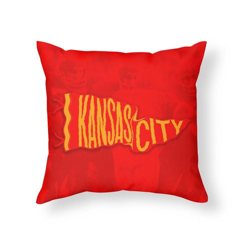 Kansas City Pennant No. 2 Home Throw Pillow by redleggerstudio's Shop