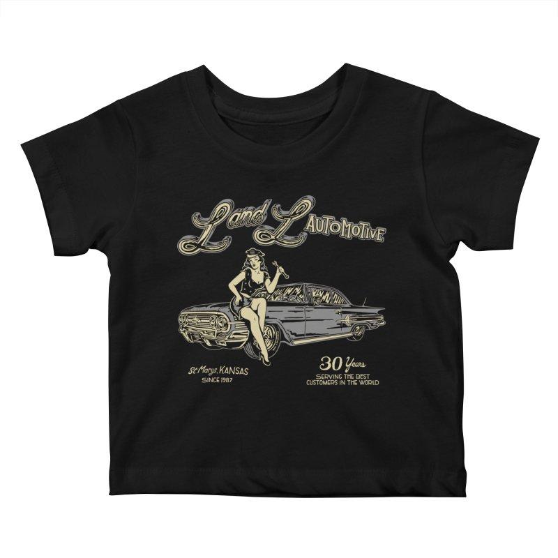 L and L Automotive Kids Baby T-Shirt by redleggerstudio's Shop