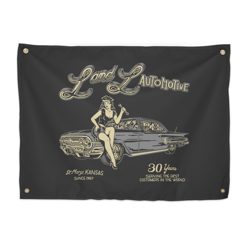 L and L Automotive Home Tapestry by redleggerstudio's Shop