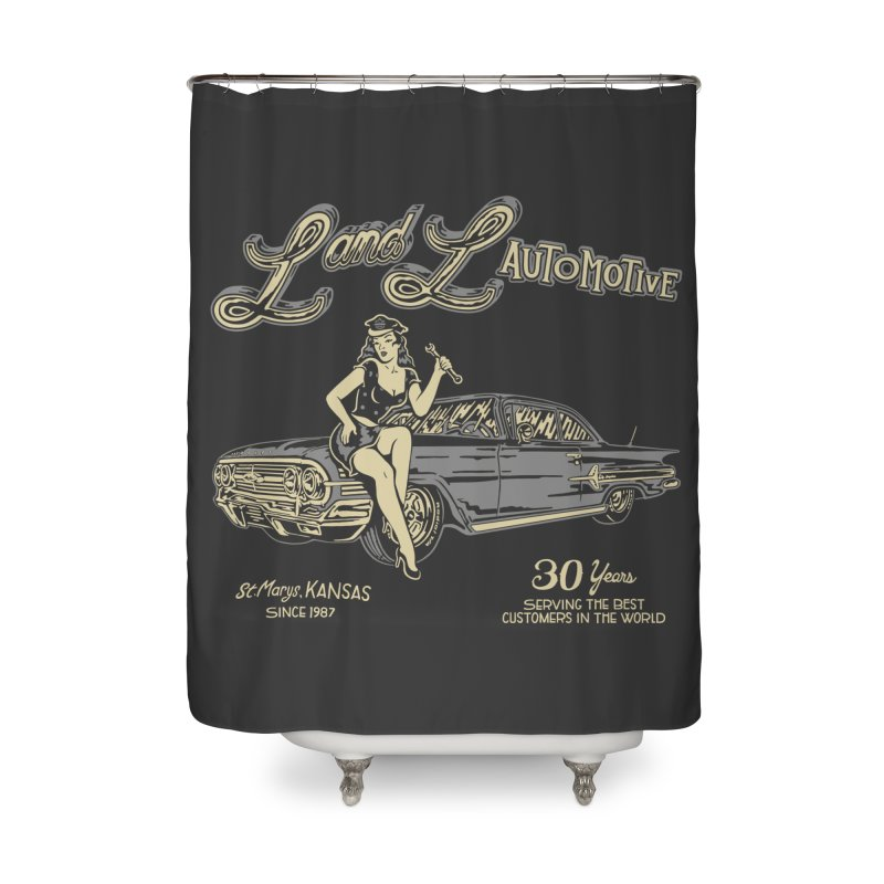 L and L Automotive Home Shower Curtain by redleggerstudio's Shop