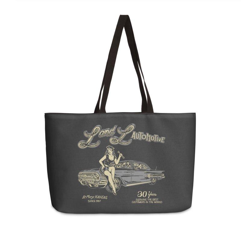 L and L Automotive Accessories Weekender Bag Bag by redleggerstudio's Shop