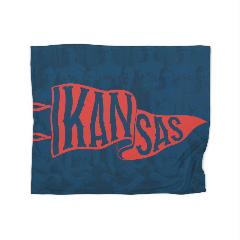 Kansas Pennant Home Fleece Blanket Blanket by redleggerstudio's Shop