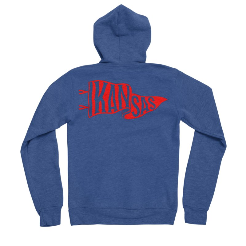 Kansas Pennant Men's Sponge Fleece Zip-Up Hoody by redleggerstudio's Shop