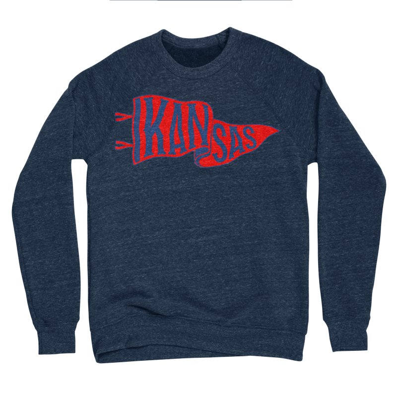 Kansas Pennant Men's Sponge Fleece Sweatshirt by redleggerstudio's Shop