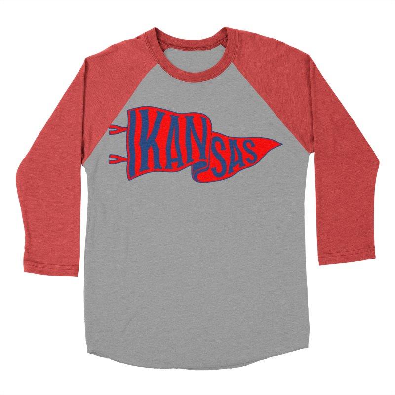 Kansas Pennant Women's Baseball Triblend Longsleeve T-Shirt by redleggerstudio's Shop