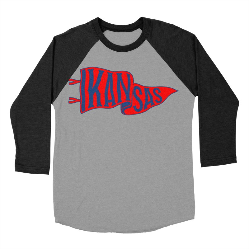 Kansas Pennant Women's Baseball Triblend Longsleeve T-Shirt by redleggerstudio's Shop