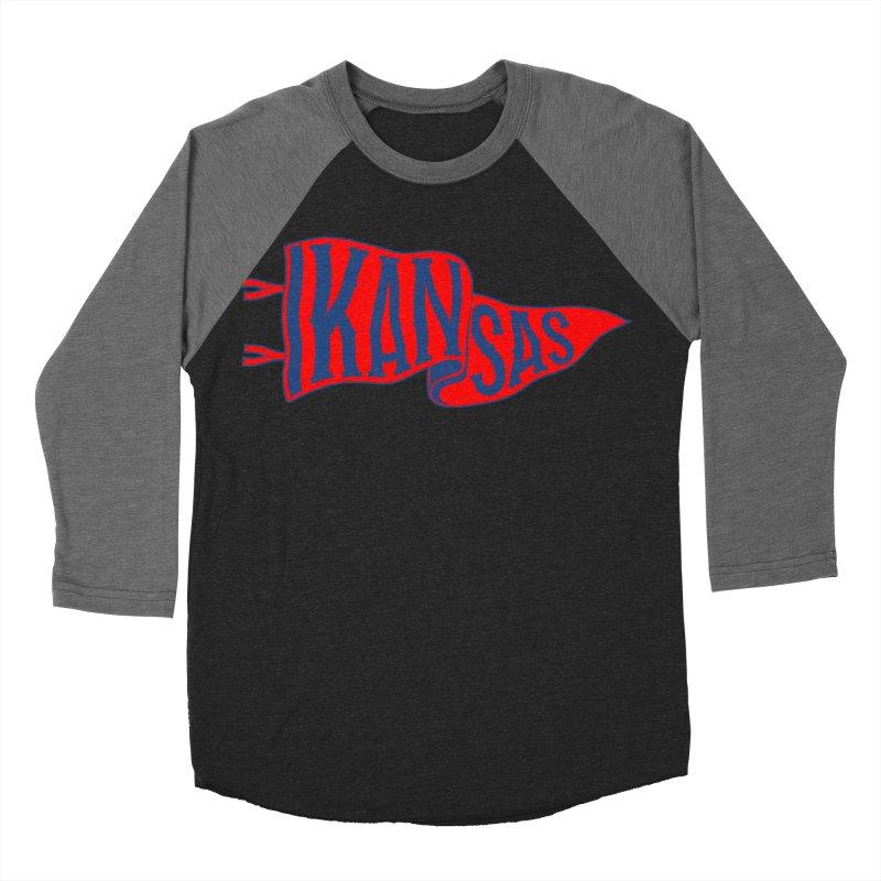 Kansas Pennant Men's Baseball Triblend Longsleeve T-Shirt by redleggerstudio's Shop