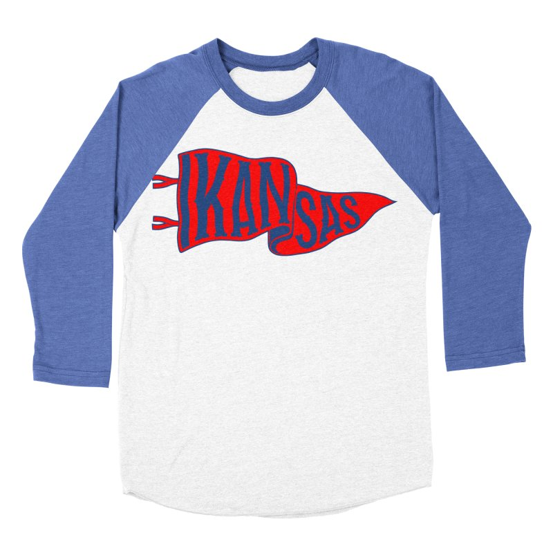 Kansas Pennant Men's Baseball Triblend Longsleeve T-Shirt by redleggerstudio's Shop