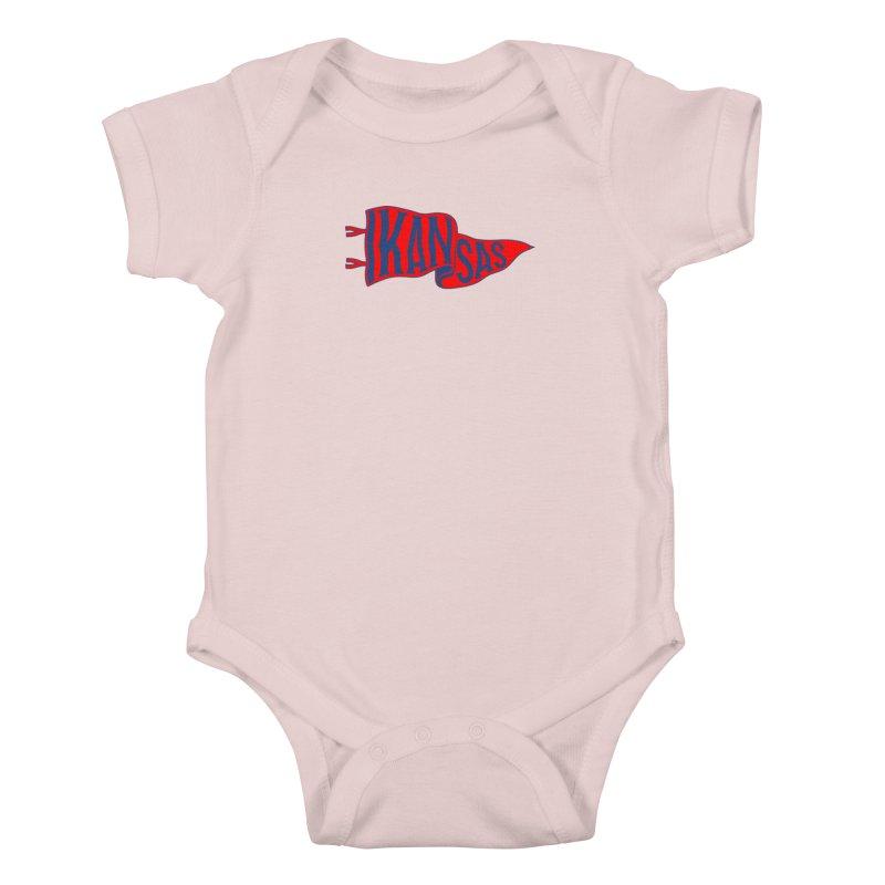 Kansas Pennant Kids Baby Bodysuit by redleggerstudio's Shop