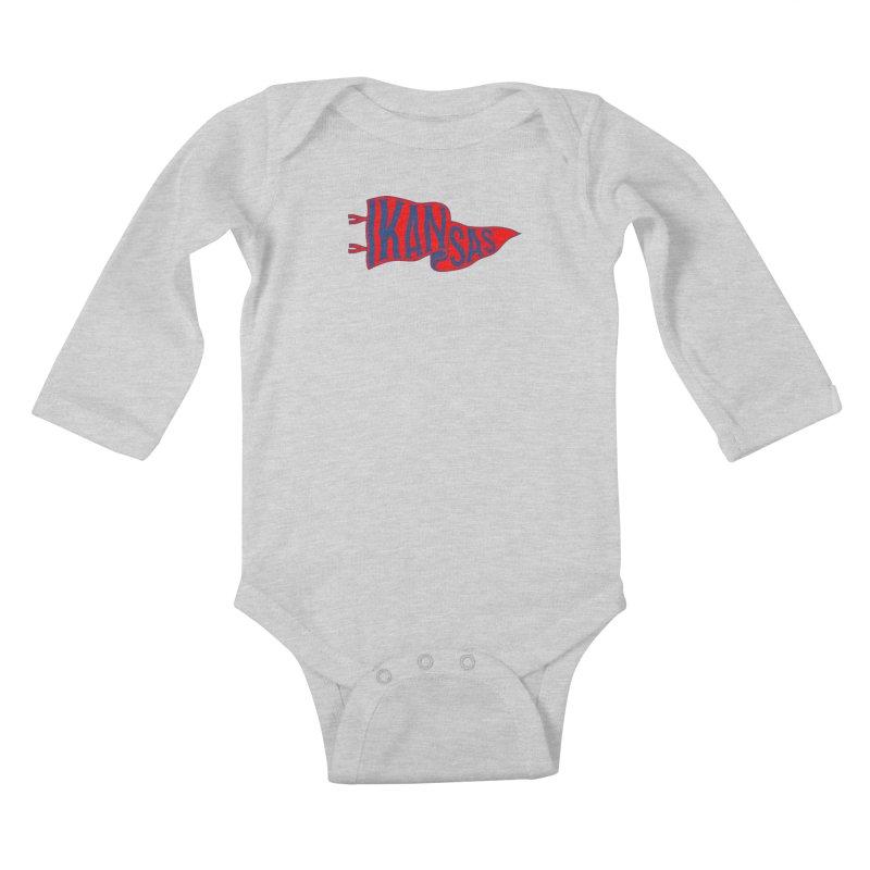 Kansas Pennant Kids Baby Longsleeve Bodysuit by redleggerstudio's Shop