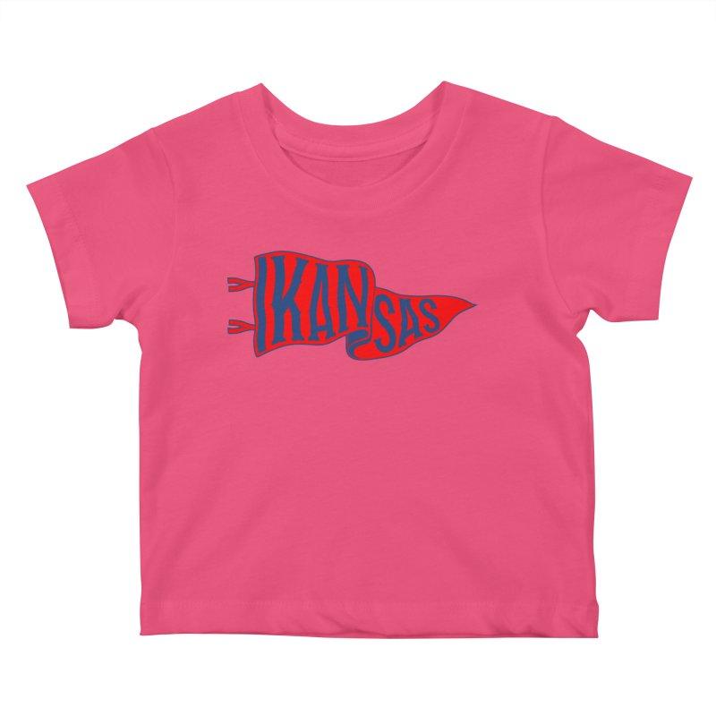 Kansas Pennant Kids Baby T-Shirt by redleggerstudio's Shop