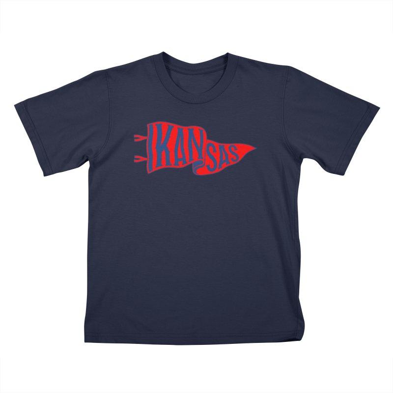 Kansas Pennant Kids T-Shirt by redleggerstudio's Shop
