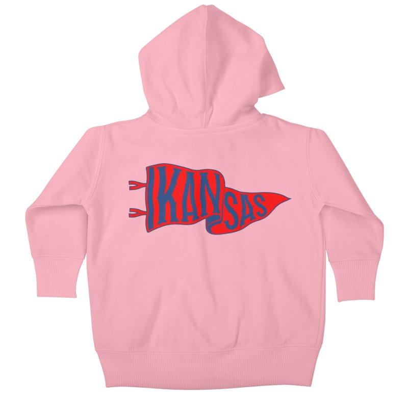 Kansas Pennant Kids Baby Zip-Up Hoody by redleggerstudio's Shop