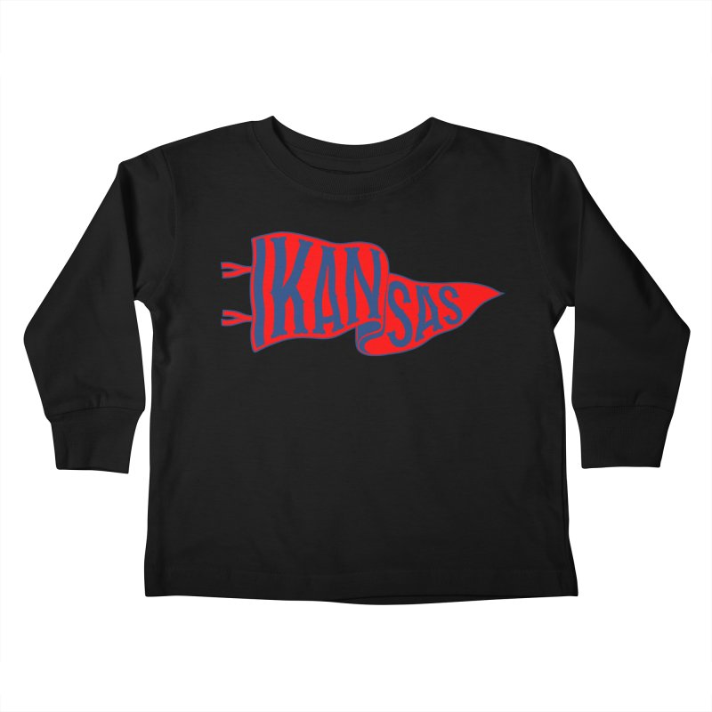 Kansas Pennant Kids Toddler Longsleeve T-Shirt by redleggerstudio's Shop