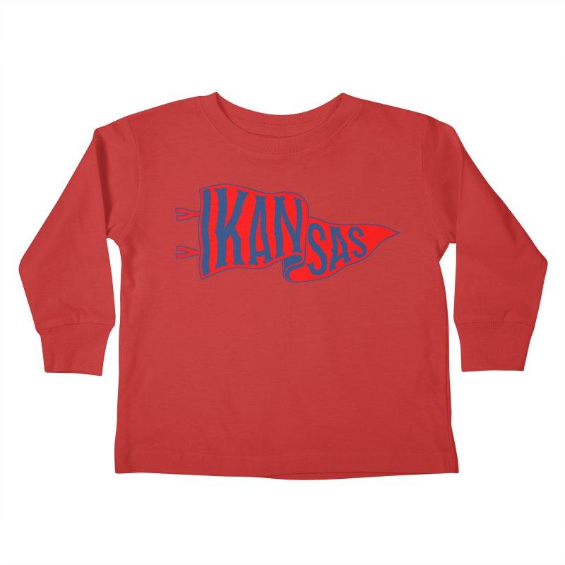 Kansas Pennant Kids Toddler Longsleeve T-Shirt by redleggerstudio's Shop
