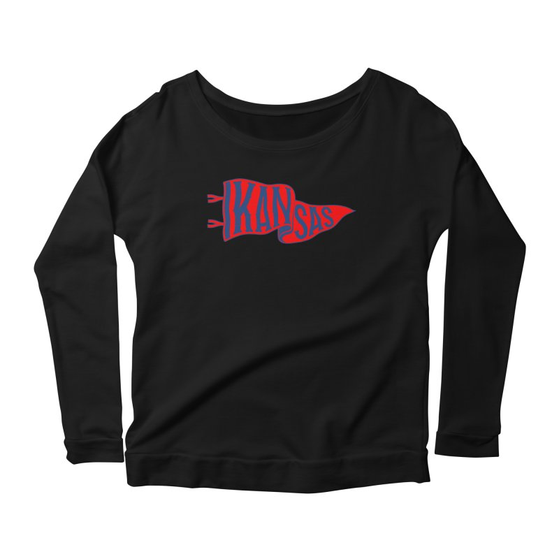Kansas Pennant Women's Scoop Neck Longsleeve T-Shirt by redleggerstudio's Shop