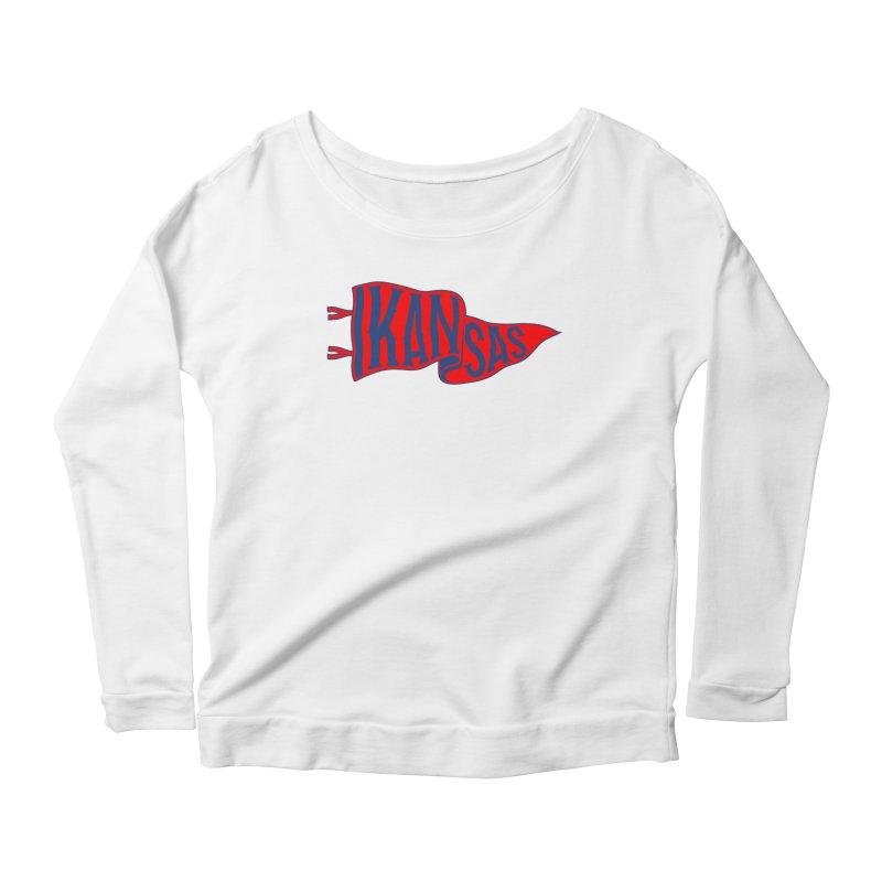 Kansas Pennant Women's Scoop Neck Longsleeve T-Shirt by redleggerstudio's Shop