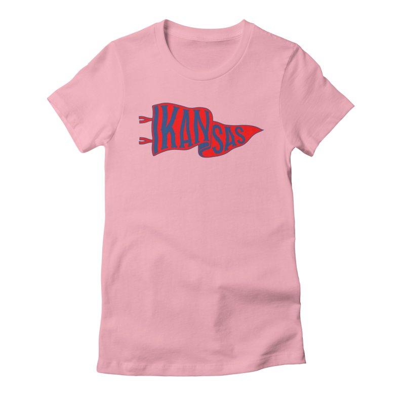 Kansas Pennant Women's Fitted T-Shirt by redleggerstudio's Shop