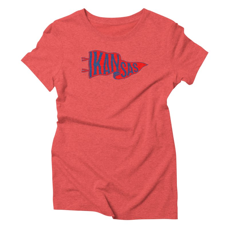 Kansas Pennant Women's Triblend T-Shirt by redleggerstudio's Shop