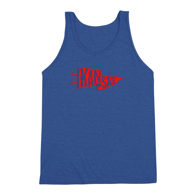 Kansas Pennant Men's Triblend Tank by redleggerstudio's Shop