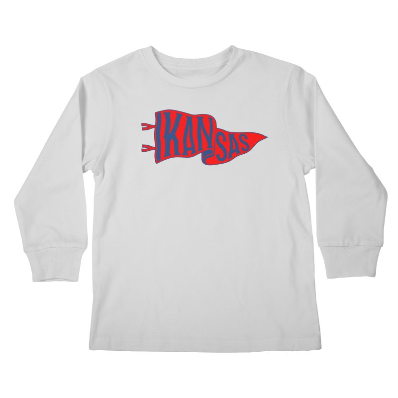 Kansas Pennant Kids Longsleeve T-Shirt by redleggerstudio's Shop