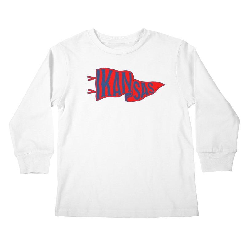 Kansas Pennant Kids Longsleeve T-Shirt by redleggerstudio's Shop