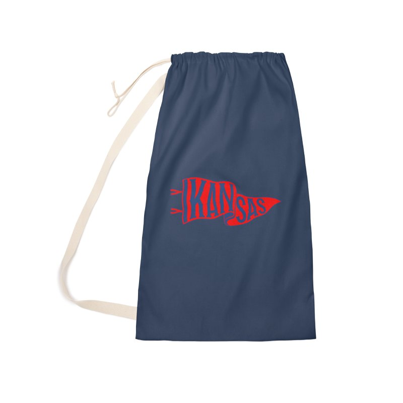 Kansas Pennant Accessories Laundry Bag Bag by redleggerstudio's Shop