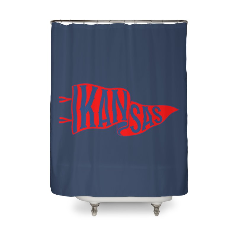 Kansas Pennant Home Shower Curtain by redleggerstudio's Shop