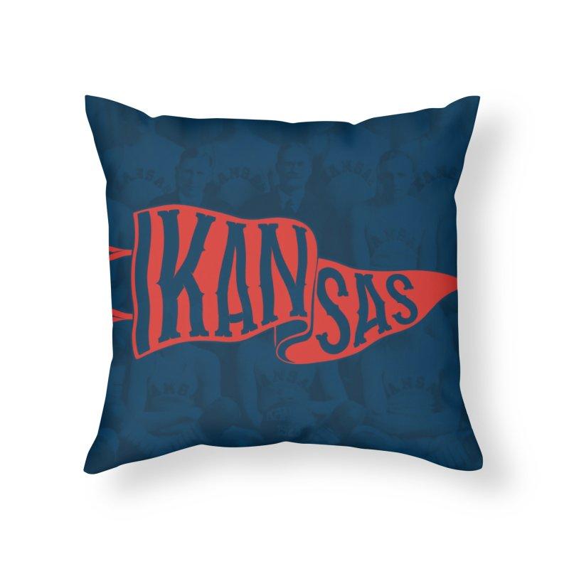 Kansas Pennant Home Throw Pillow by redleggerstudio's Shop
