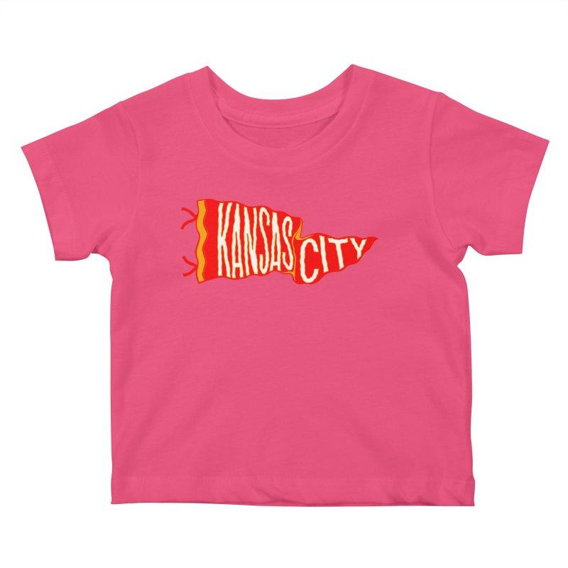 Kansas City Pennant No. 2 Kids Baby T-Shirt by redleggerstudio's Shop