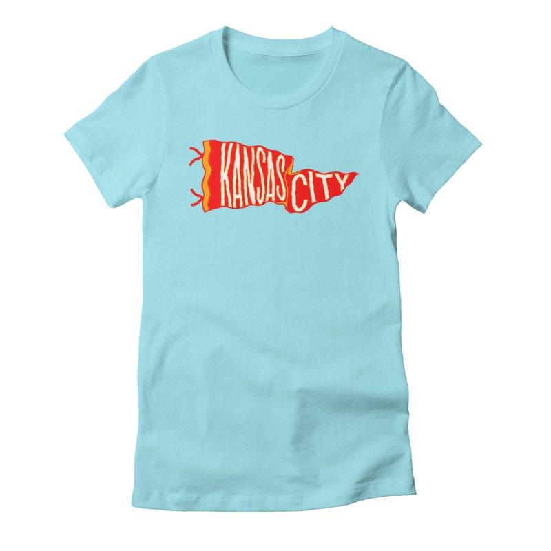 Kansas City Pennant No. 2 Women's Fitted T-Shirt by redleggerstudio's Shop