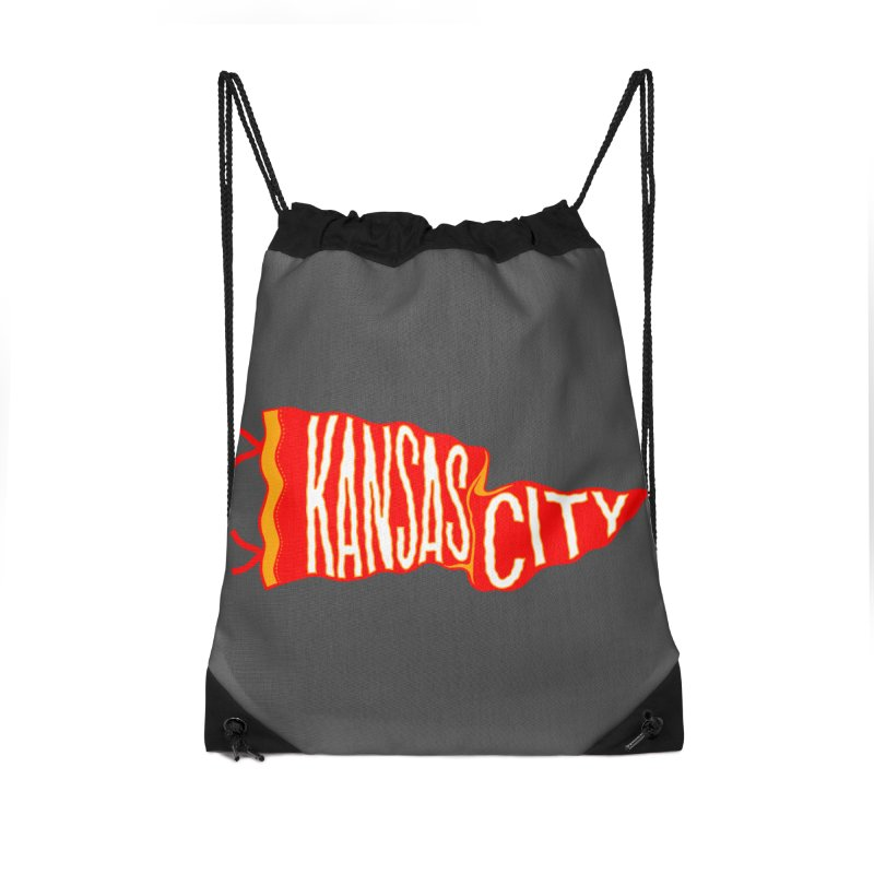 Kansas City Pennant No. 2 Accessories Drawstring Bag Bag by redleggerstudio's Shop