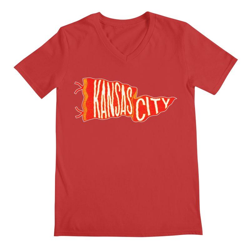 Kansas City Pennant No. 2 Men's Regular V-Neck by redleggerstudio's Shop