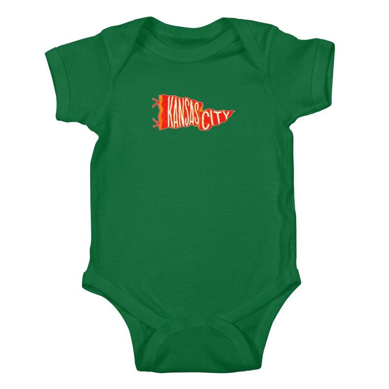 Kansas City Pennant No. 2 Kids Baby Bodysuit by redleggerstudio's Shop