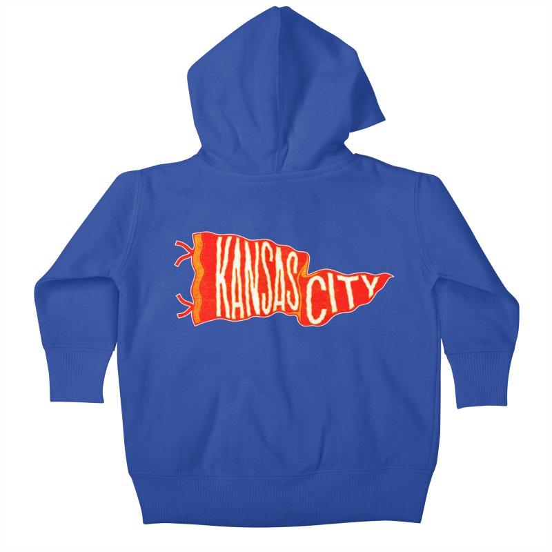 Kansas City Pennant No. 2 Kids Baby Zip-Up Hoody by redleggerstudio's Shop
