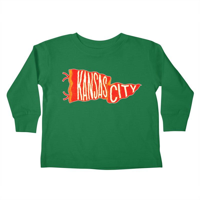 Kansas City Pennant No. 2 Kids Toddler Longsleeve T-Shirt by redleggerstudio's Shop