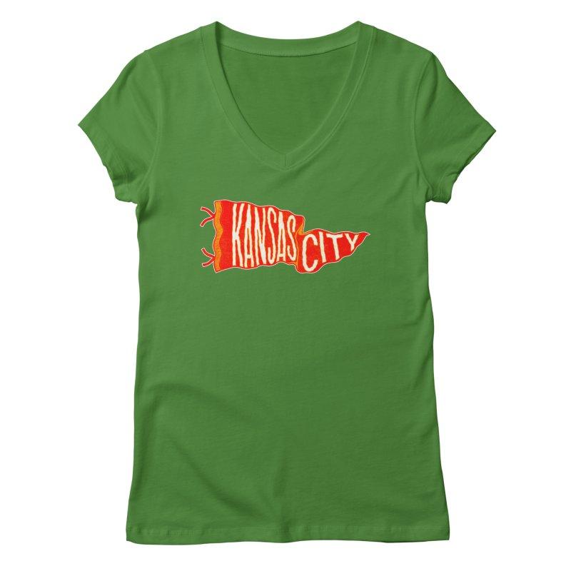 Kansas City Pennant No. 2 Women's Regular V-Neck by redleggerstudio's Shop