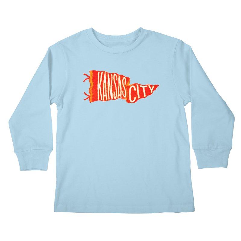 Kansas City Pennant No. 2 Kids Longsleeve T-Shirt by redleggerstudio's Shop