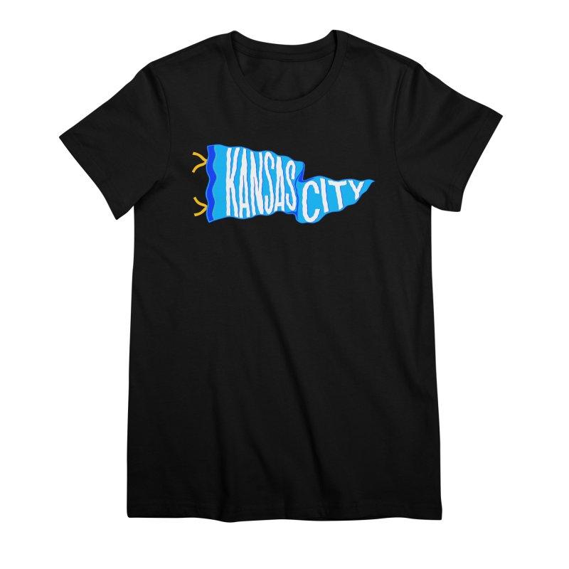 Kansas City Pennant Blue Women's Premium T-Shirt by redleggerstudio's Shop