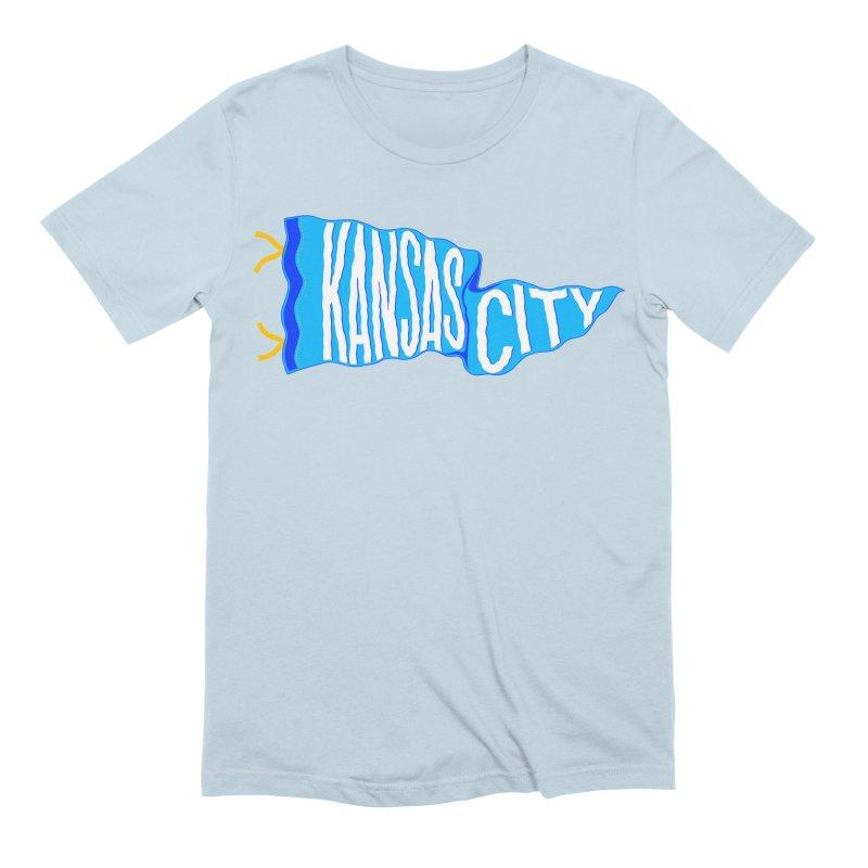 Kansas City Pennant Blue Men's Extra Soft T-Shirt by redleggerstudio's Shop