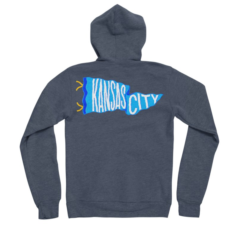 Kansas City Pennant Blue Men's Sponge Fleece Zip-Up Hoody by redleggerstudio's Shop