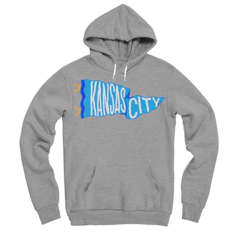 Kansas City Pennant Blue Men's Sponge Fleece Pullover Hoody by redleggerstudio's Shop