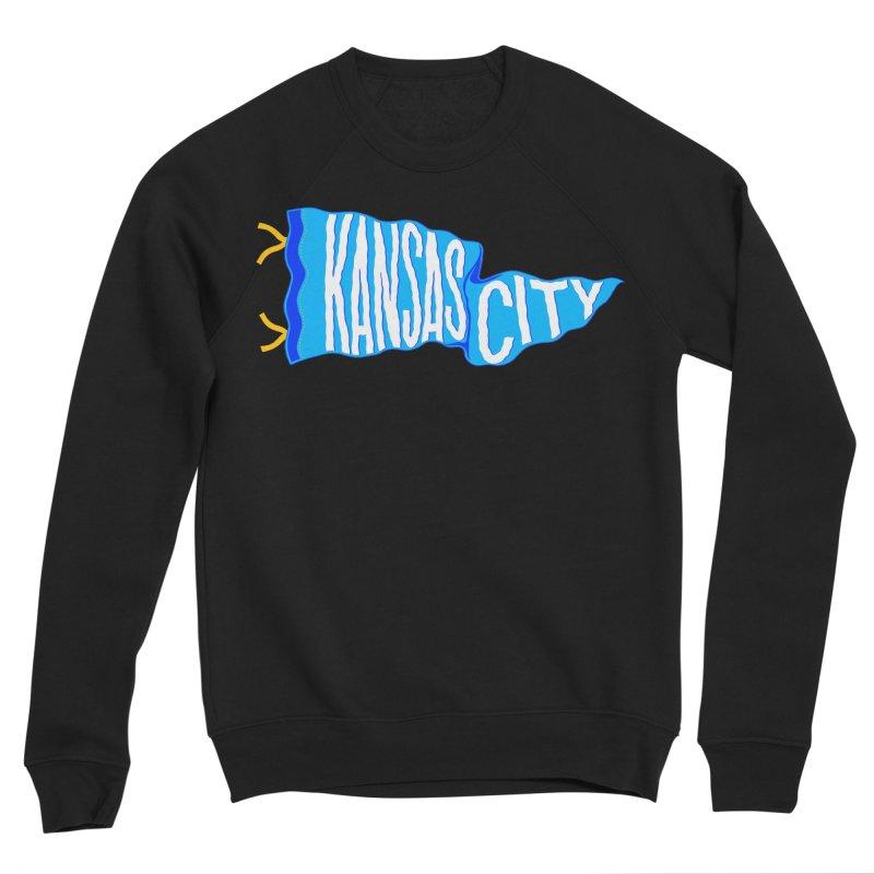 Kansas City Pennant Blue Women's Sponge Fleece Sweatshirt by redleggerstudio's Shop
